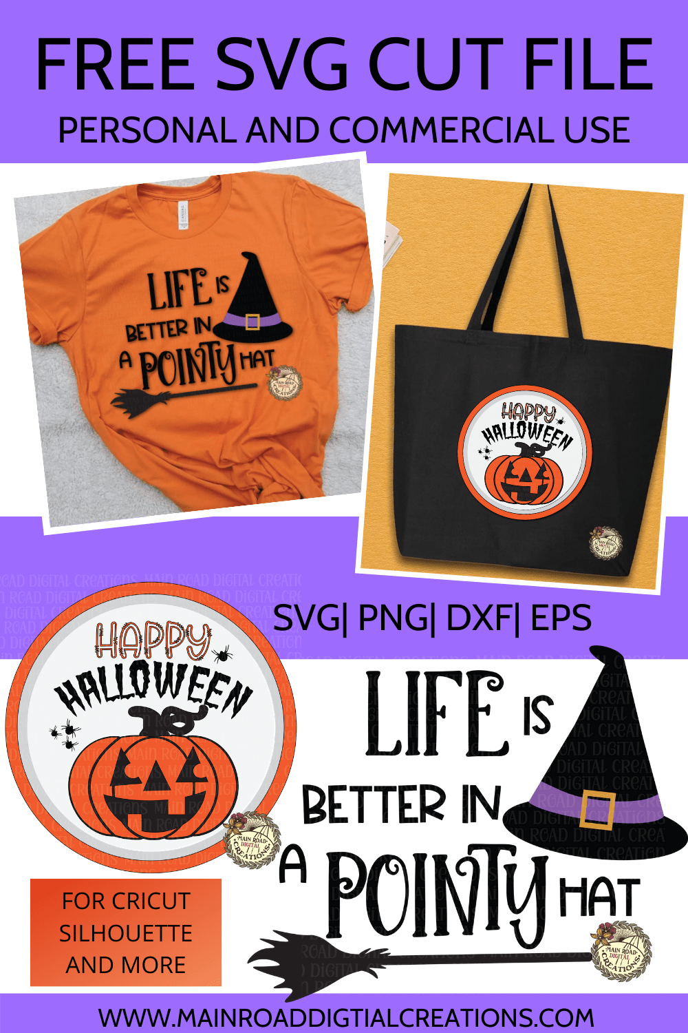 Free Happy Halloween and Life is better in a pointy hat svg