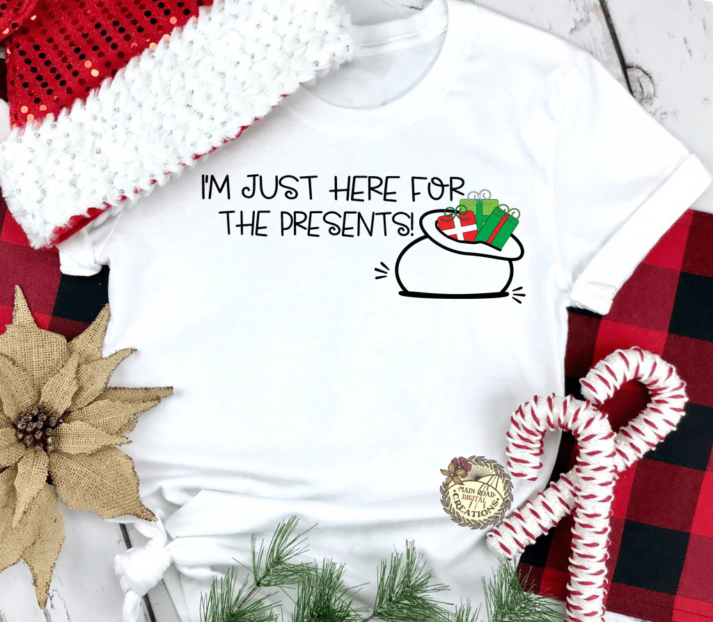 christmas present clipart, christmas svg free, holiday cut files, cricut crafts, diy christmas, i'm just here for the presents, holiday shirt idea, christmas shirt idea