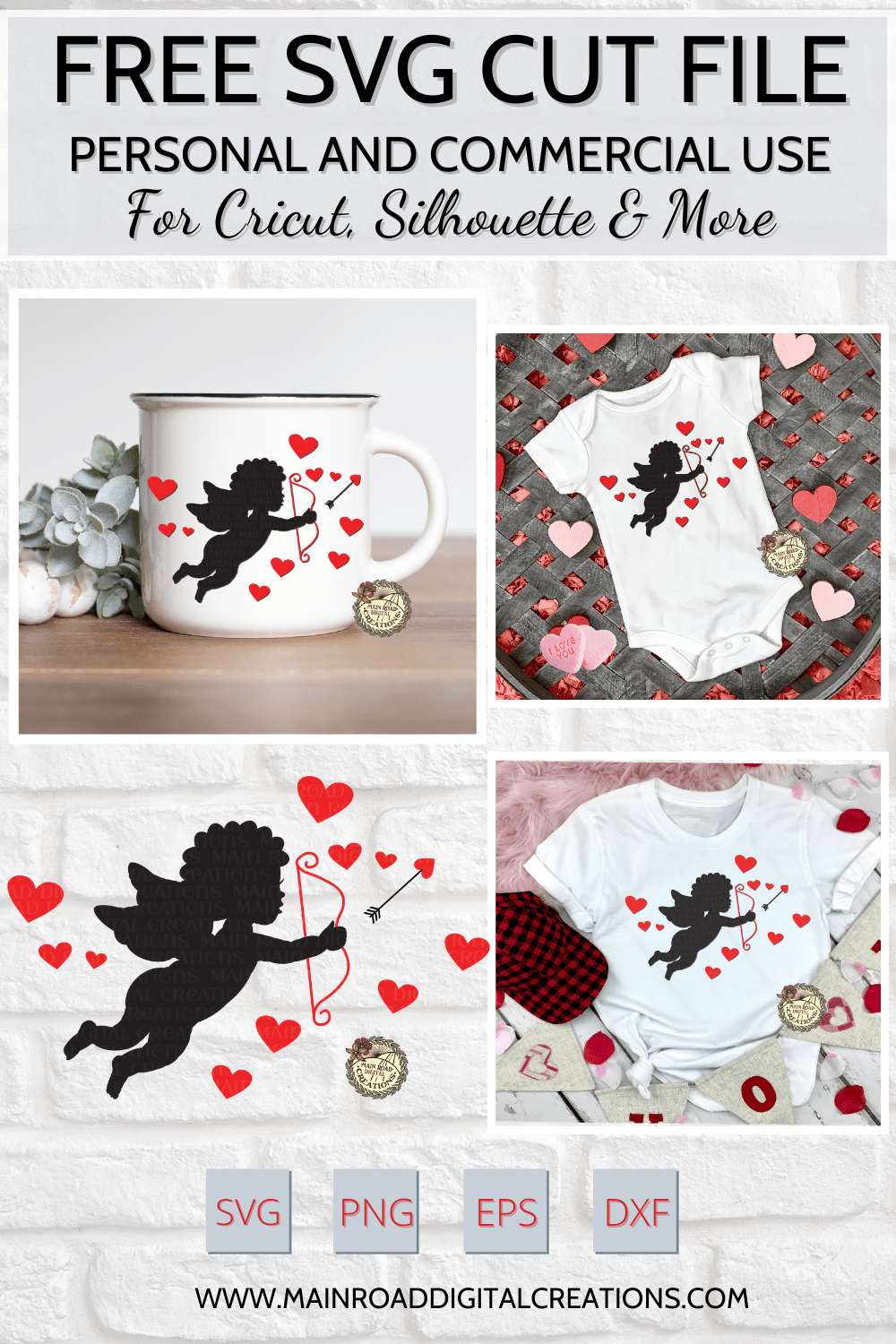 free cupid silhouette valentines day svg