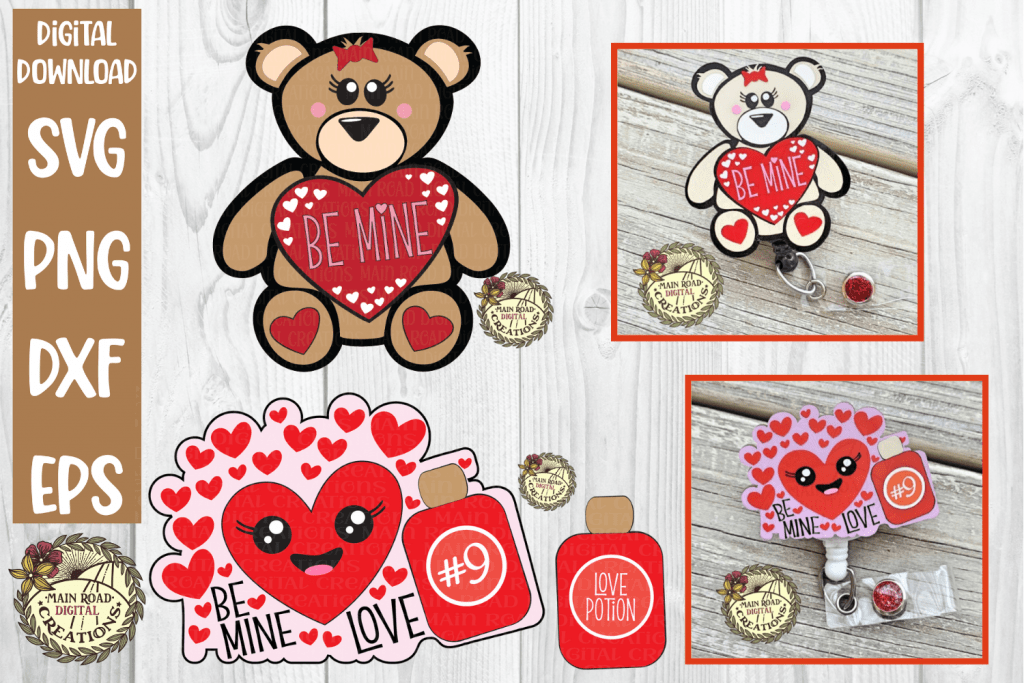 Valentine Badge Reel SVG on Etsy