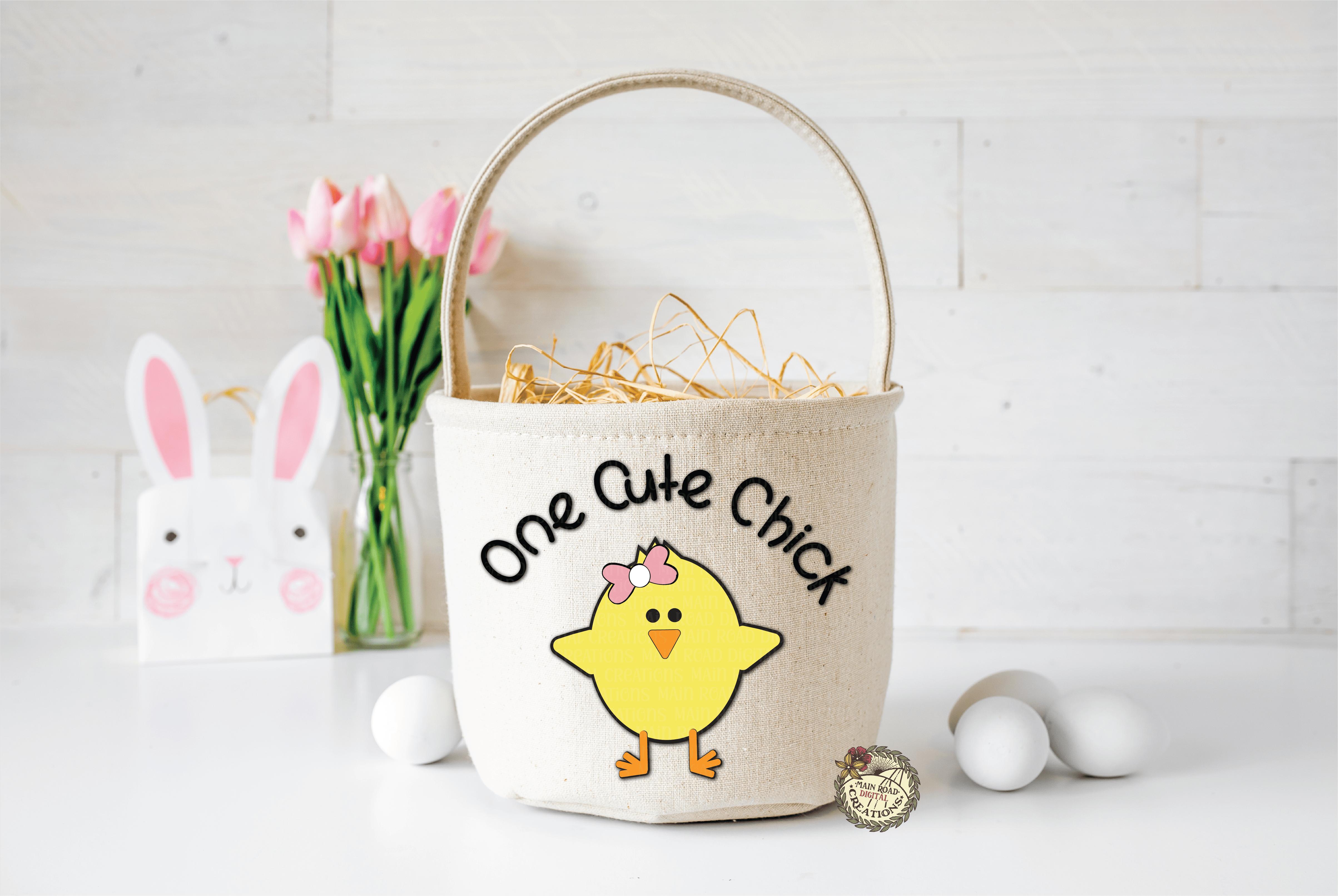 one cute chick basket example with free svg