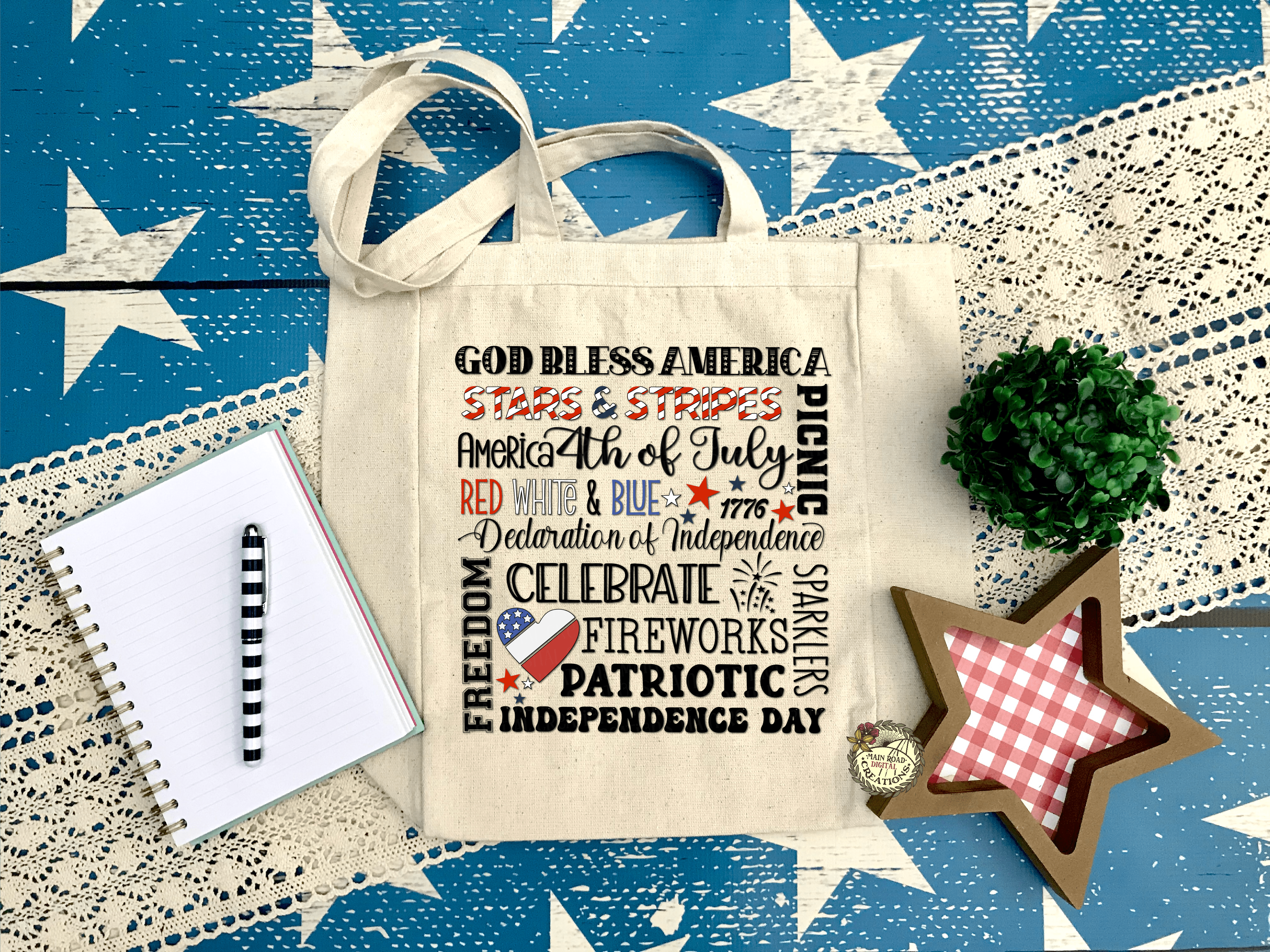 Patriotic 4th of July Subway Art Free SVG. tote bag with free 4th of july svg, patriotic svg