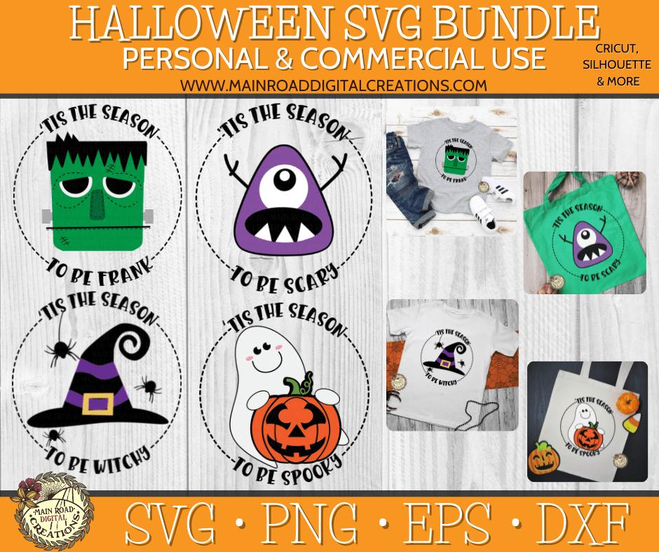 halloween svg bundle, tis the season to be spooky svg, Frankenstein svg, ghost svg, witch hat svg, monster svg, halloween svg cut files, design bundles shop, tis the season to be scary svg