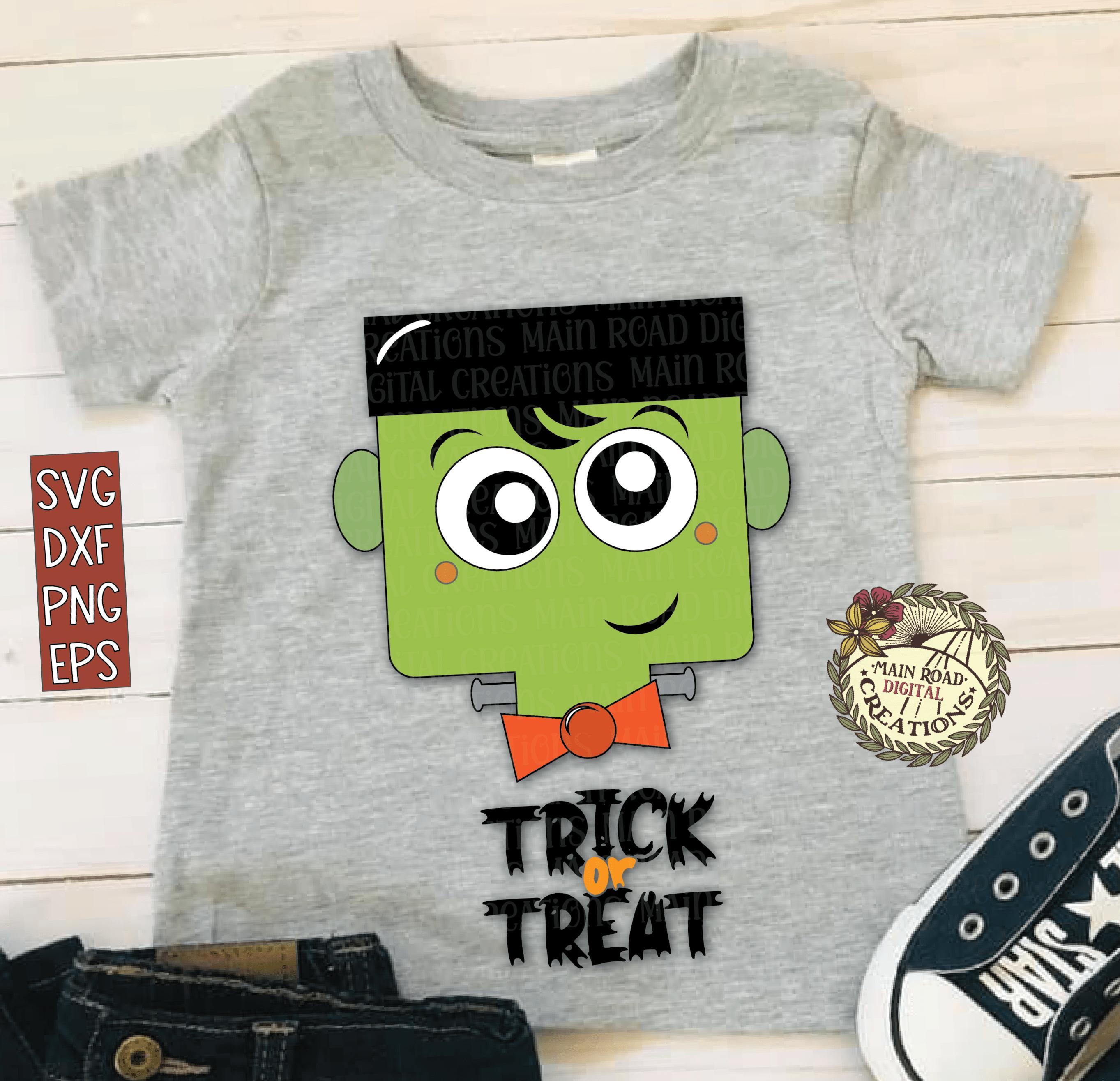cute frankenstien design for kids, trick or treat cut file, Halloween design for trick-or-treat bag, Halloween SVG