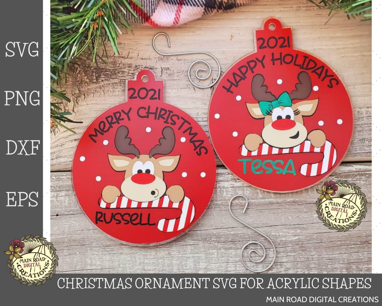 Christmas ornament svg, Reindeer SVG, Etsy Shop, holiday ornaments, round ornament svg, acrylic shape ornaments svg