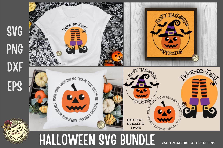halloween svg, retro halloween svg, pumpkin witch svg, happy halloween, trick or treat svg, witches boots, witch leg, design bundles