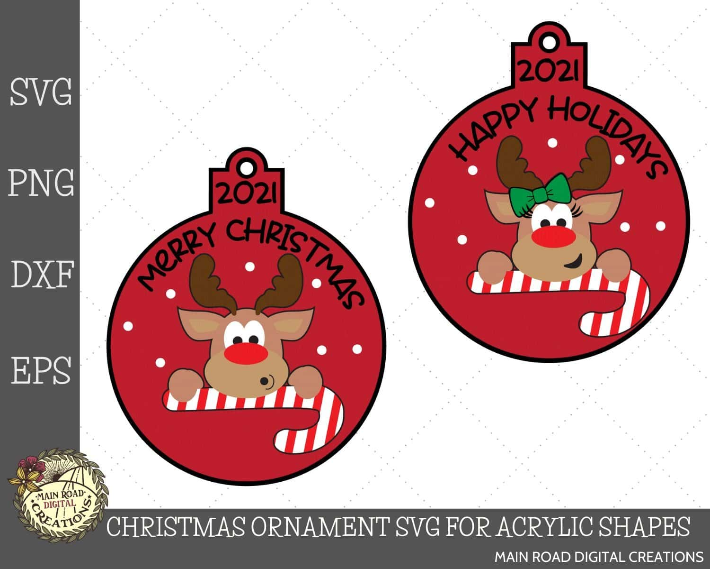 christmas ornament svg, christmas acrylic ornament, reindeer svg, etsy shop