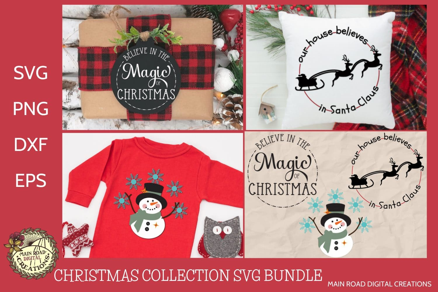 Christmas ornament designs, Christmas SVG, snowman cut file, cricut user files, Design Bundles, believe in the magic of Christmas, Santa and his sleigh silhouette