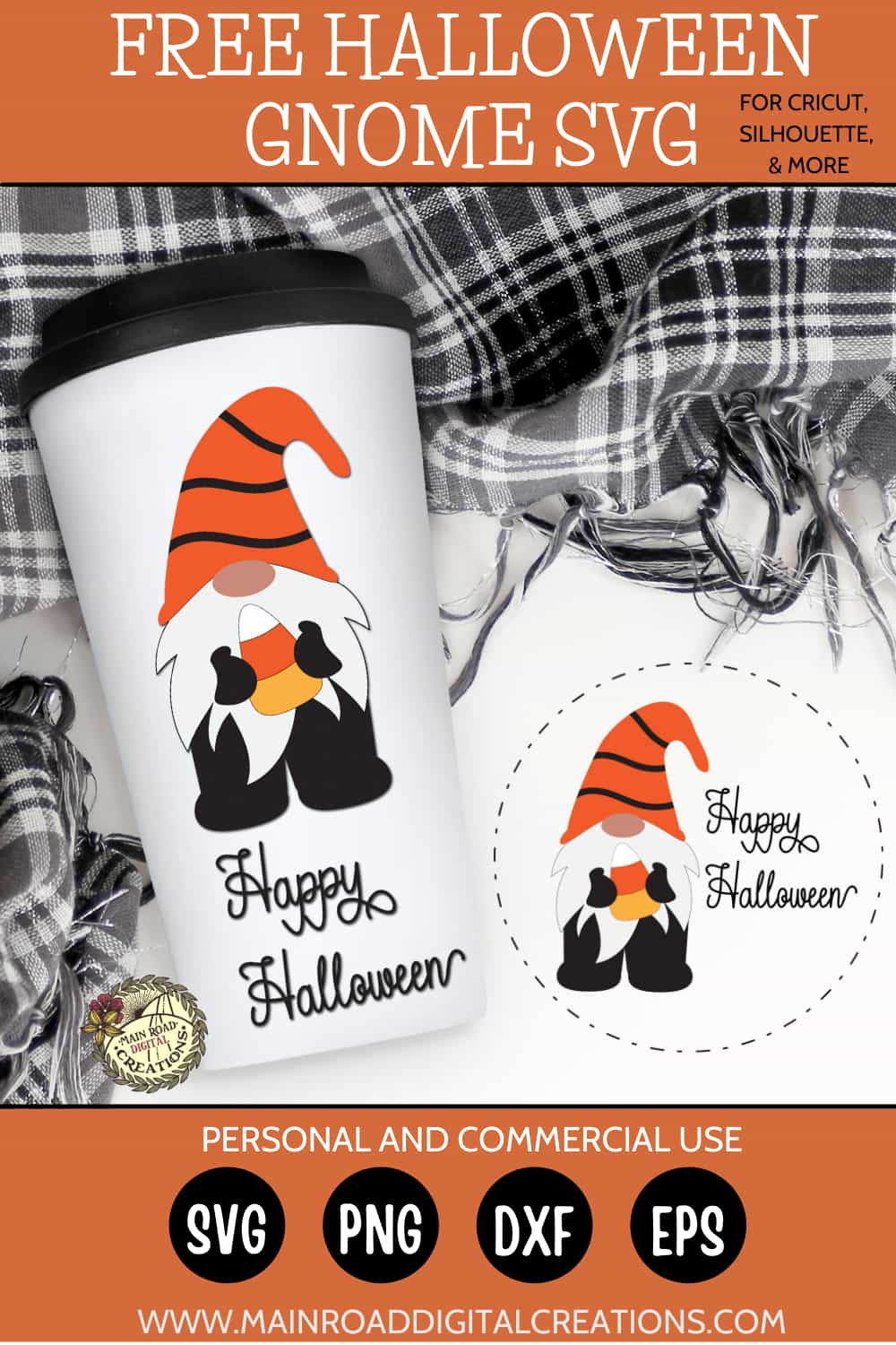 Halloween Gnome SVG Free, Happy Halloween Gnome design, Candy corn cut file, Halloween design for round sign, Gnome SVG design, Gnome Fall Design, Cricut cut files free, Free SVG Designs