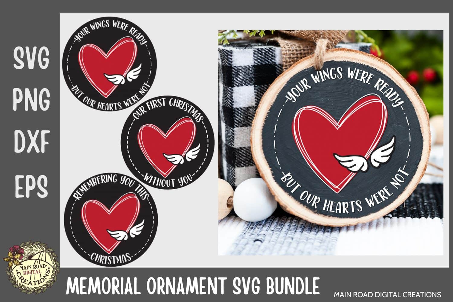 Christmas ornament designs, Christmas SVG, memorial ornament idea, your wings were ready svg, wings svg, ornament for first christmas without a loved one, memorial design, remembering you at Christmas, grief quote, etsy shop