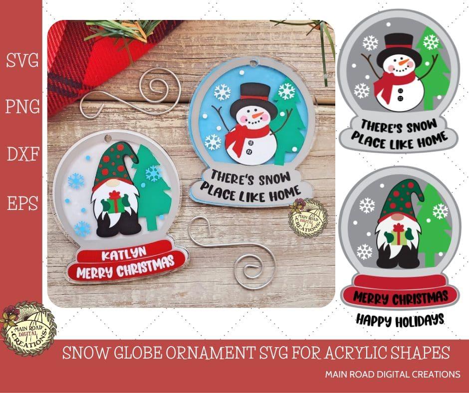 acrylic shape svg, snow globe ornament cut file, SVG files for acrylic shapes, ornament designs for acrylic shapes, gnome Christmas ornament, snowman svg, Christmas gnome svg, Etsy shop designs for acrylic shapes