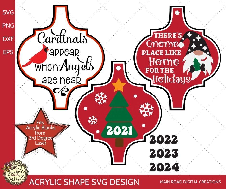 arabesque ornament svg, acrylic shape svg file, christmas ornament svg, Christmas gnome svg, Cardinals appear memorial quote, memory ornament svg
