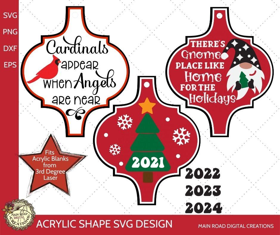 arabesque ornament svg, acrylic shape svg, acrylic ornament designs, christmas gnome svg, cardinals appear memory ornament desgin