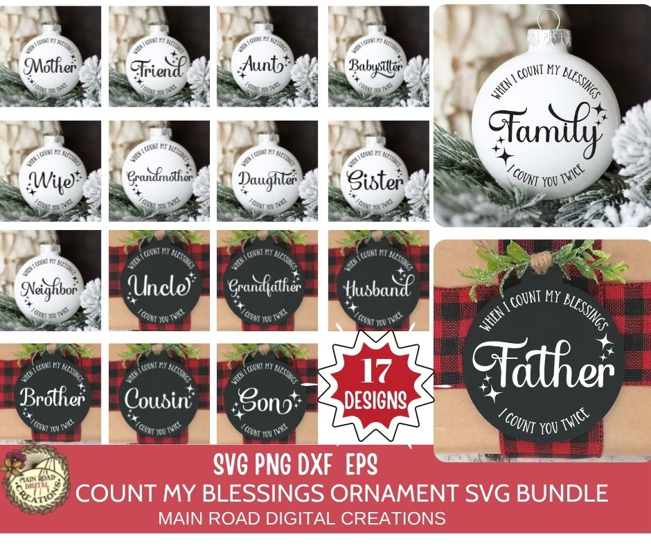 design bundles, christmas ornament svg, count my blessings quote, friends and family ornament SVG, Christmas SVG design