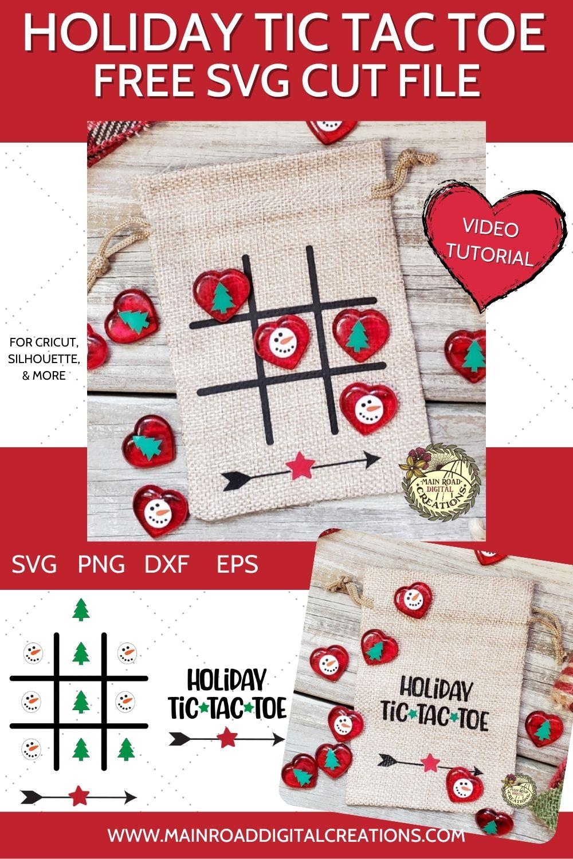 cricut mini press tutorial, adhesive vinyl tutorial, free holiday svg, holiday tic tac toe bags, snowman svg, stocking stuffer diy, cricut project free svg