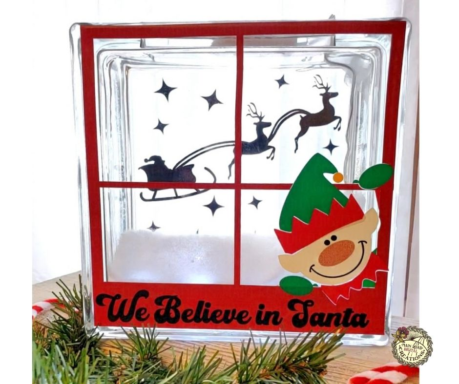 Christmas glass block, free glass block svg, We believe in Santa, Christmas cut files for Cricut, Glass block decorated with a Christmas design